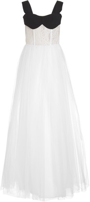 Rasario Exclusive Sleeveless Lace And Tulle Gown