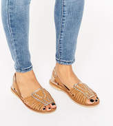 Asos Joel Wide Fit Leather Woven Summer Shoes
