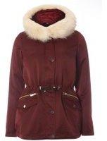 Dorothy Perkins Womens Burgundy Hooded Detachable Fur Parka- Red