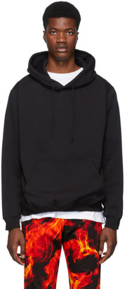 MSGM Black Backwards Logo Hoodie