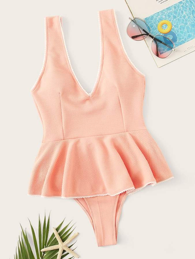 9b352c2f43 Peplum One Piece Swimsuit - ShopStyle