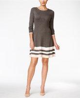 Jessica Howard Striped Border Sweater Dress