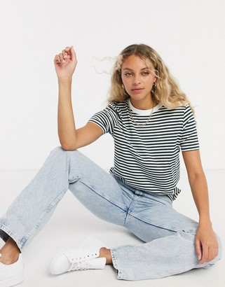 Selected Perfect stripe t-shirt in green multi