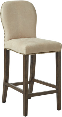 OKA Stafford Leather Bar Stool - China Clay