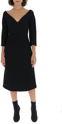 Prada V Neck Midi Dress