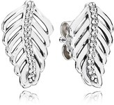 Pandora Earrings - Sterling Silver & Cubic Zirconia Shimmering Feathers