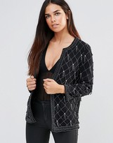 French Connection Pearl Cage Collarless Embellished Jacket