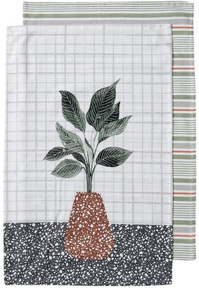Ladelle Revive Plants Leaf 2pk Kitchen Towel