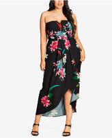 City Chic Trendy Plus Size Tropical-Print Strapless Dress
