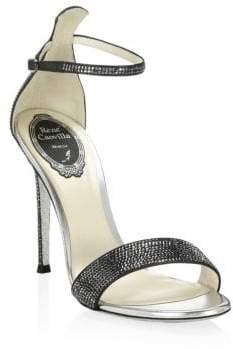 Rene Caovilla Satin Leather Rhinestone Sandals