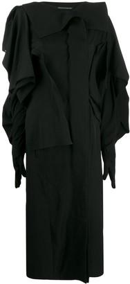 Yohji Yamamoto Draped Long-Length Coat