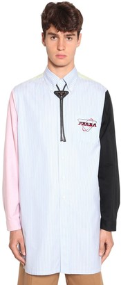 Prada Logo Print Striped Cotton Shirt