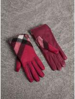 Burberry Leather and Check Cashmere Gloves
