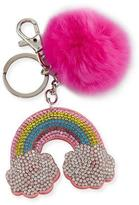 Bari Lynn Girls' Rainbow Fur-Pom Key Chain, Multicolor
