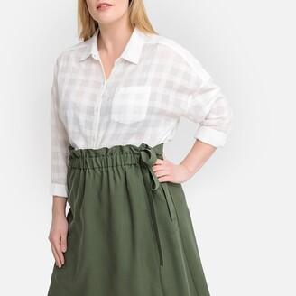 Castaluna Plus Size Cotton Jacquard Checked Long-Sleeved Shirt
