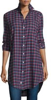 Frank And Eileen Mary Plaid Tunic-Shirtdress, Navy/Red/White
