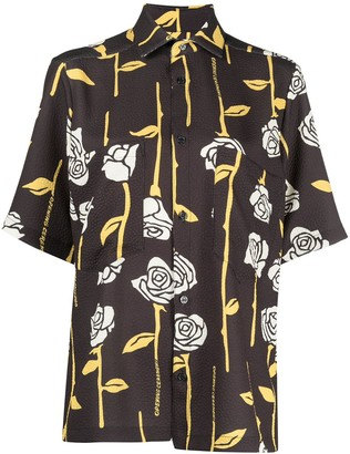 Opening Ceremony Alloverroses Struc. S/S Shirt Black Papy