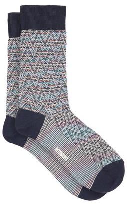 Missoni Chevron-knit Cotton-blend Socks - Blue