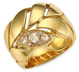 Maria Canale Petal 18K Yellow Gold & Diamond Ring