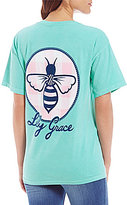 Lily Grace Spring Gingham Bee Short-Sleeve Pocket Graphic Tee
