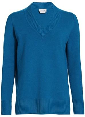 Akris Punto Luna Cutout V-Neck Long-Sleeve Wool & Cashmere Knit Sweater