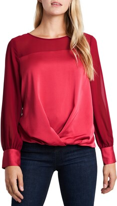 Vince Camuto Mix Media Twist Front Long Sleeve Top