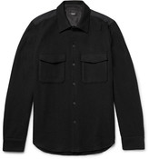 Theory Rossland Mory Shell-Panelled Wool-Blend Flannel Shirt
