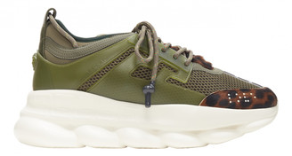 Versace Chain Reaction Green Leather Trainers