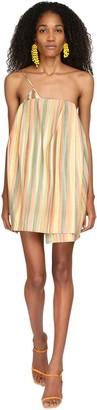 Jacquemus Striped One Shoulder Silk Mini Dress