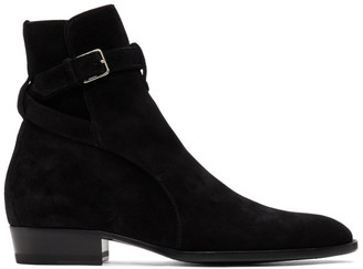 Saint Laurent Black Suede Wyatt Jodhpur Boots