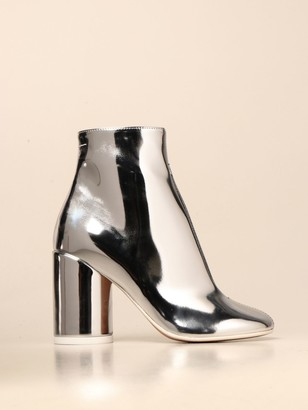 MM6 MAISON MARGIELA Tabi Maison Margiela Ankle Boot In Metallic Leather