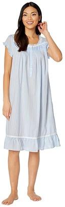 Eileen West Cotton Woven Dobby Stripe Cap Sleeve Waltz Nightgown (Peri) Women's Pajama