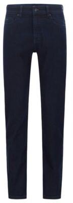 BOSS Slim-fit jeans in dark-blue comfort-stretch denim