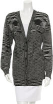 M Missoni Silk-Panel Button-Front Cardigan