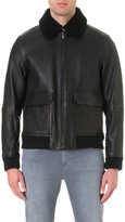 Michael Kors Shearling Collar Leather Jacket