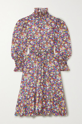 Horror Vacui Collia Scalloped Floral-print Cotton-poplin Dress - Blue