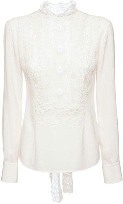 Ermanno Scervino Crepe De Chine Shirt W/ Embroidered Lace