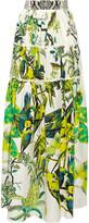 Roberto Cavalli Paneled printed silk-satin maxi skirt