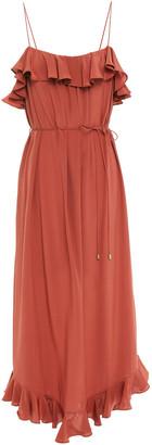 Zimmermann Ruffled Washed-silk Midi Dress