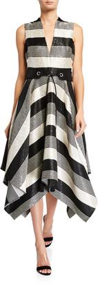 Badgley Mischka Sequin Striped Deep V-Neck Belted Handkerchief Dress