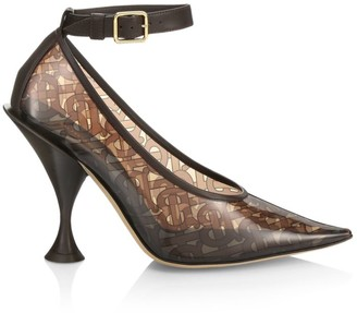 Burberry Evan TB Monogram Ankle-Strap Transparent Pumps
