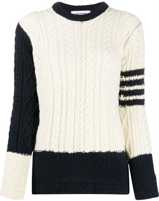 Thom Browne 4-Bar stripe cable-knit jumper