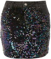 Topshop MOTO Sequin Denim Mini Skirt