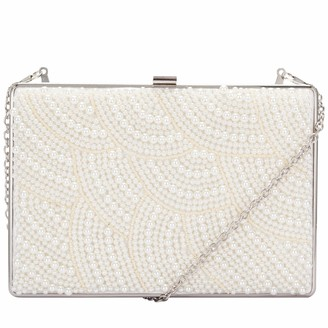 Claudia Canova Womens Pearl Covered Clasp Top Clutch Clutch Off-White (Pearl)