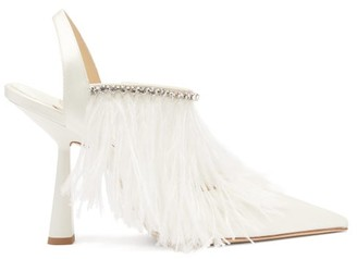 Jimmy Choo Ambre 100 Feather-trimmed Satin Slingback Pumps - White