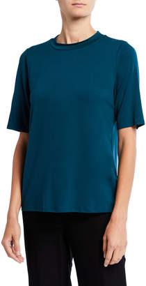 Eileen Fisher Plus Size Mock-Neck Elbow-Sleeve Jersey Top