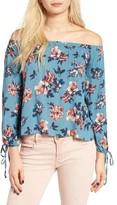 Lush Women's Floral Print Off The Shoulder Blouse