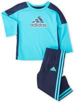 adidas Newborn/Infant Boys) Two-Piece Performance Training Tee & Track Pants Set