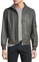 Burberry Leather Bomber Jacket, Dark Steel