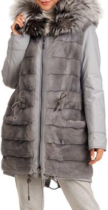 Gianfranco Ferre Reversible Mink Fur Short Coat W/Fox Fur Hood